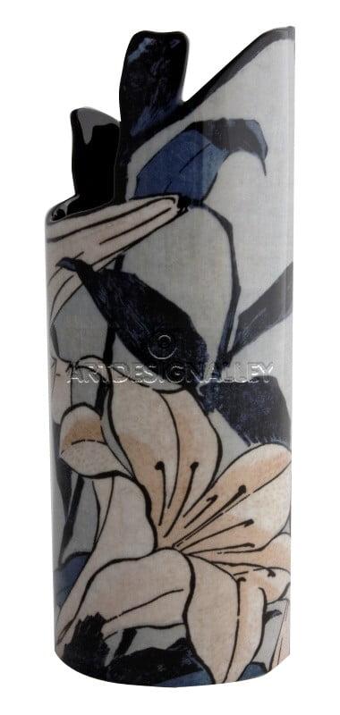 Vase à fleurs fond clair Hokusai